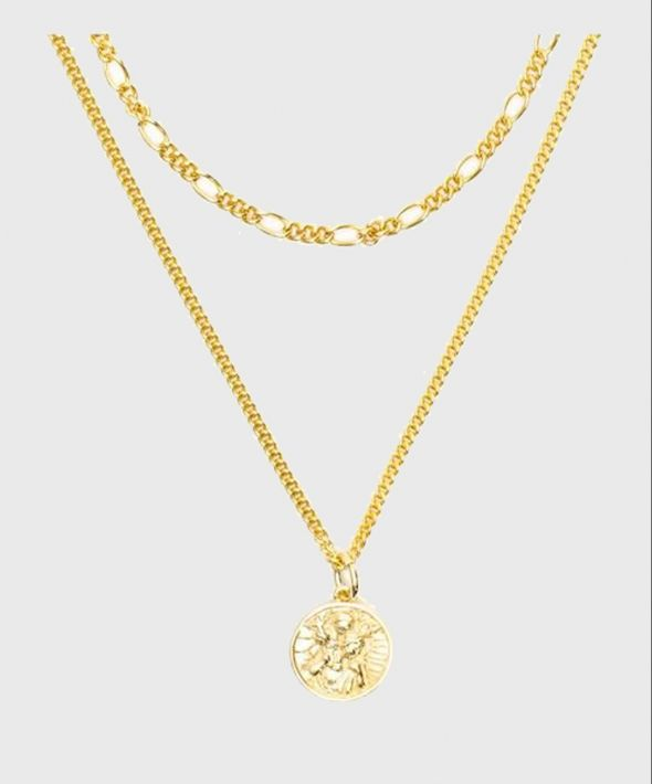 Gold Plated Silver St Christopher Multi Chain Necklace