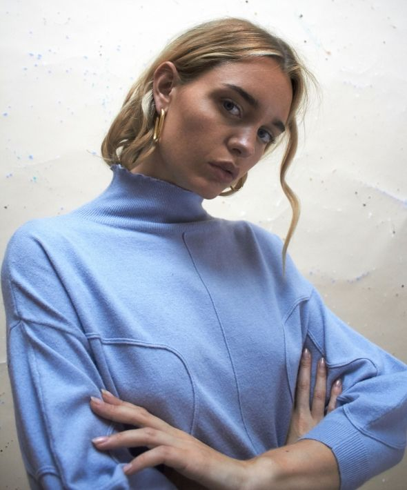 Exclusive Volume Jumper with Pipe Detail in Powder Blue