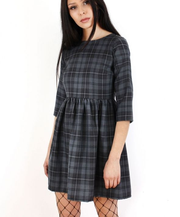 Grey Tartan Skater Dress