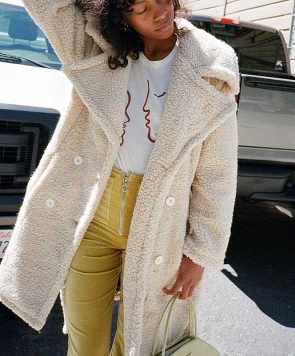 Teddy Bear Upscale Trench Coat in Stone Shearling