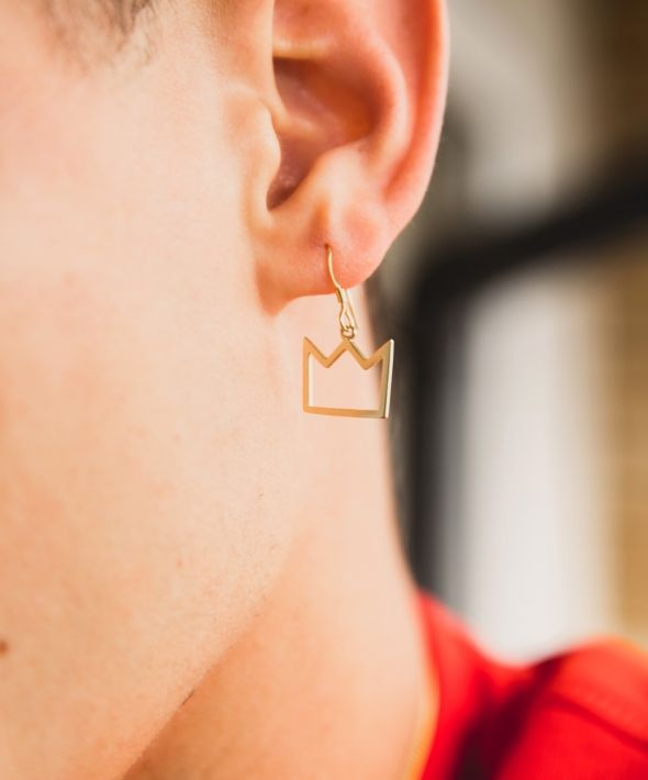 Gold crown hook earring
