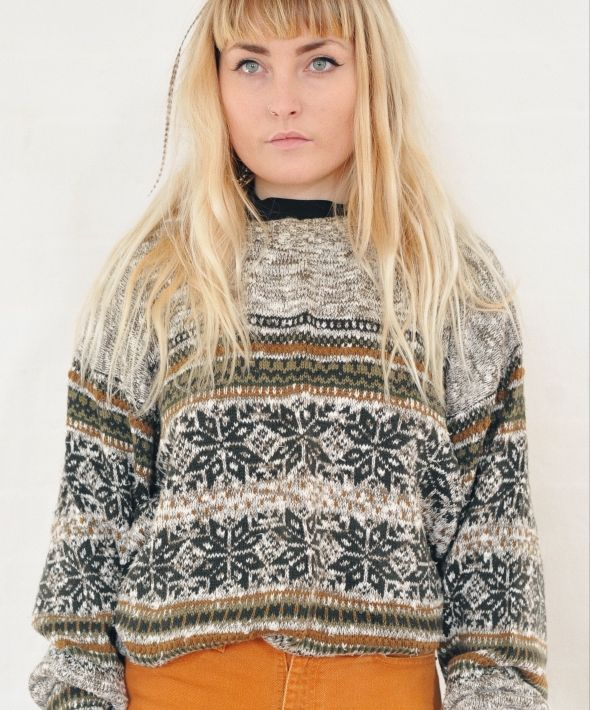Vintage 90's Abstract Pattern Knit Nordic Grey Jumper