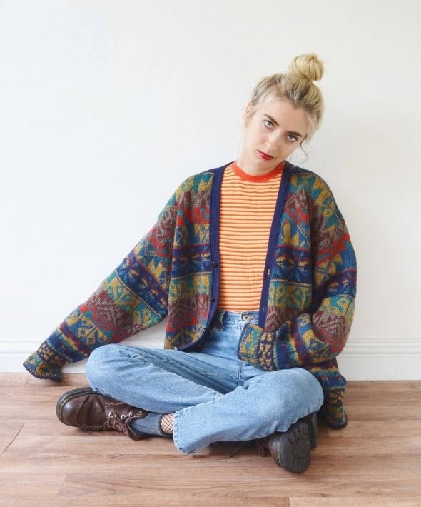 Vintage Rainbow Colourful Cardigan Knit Pattern Sweater Student