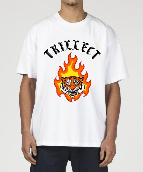 Tiger flame t shirt white