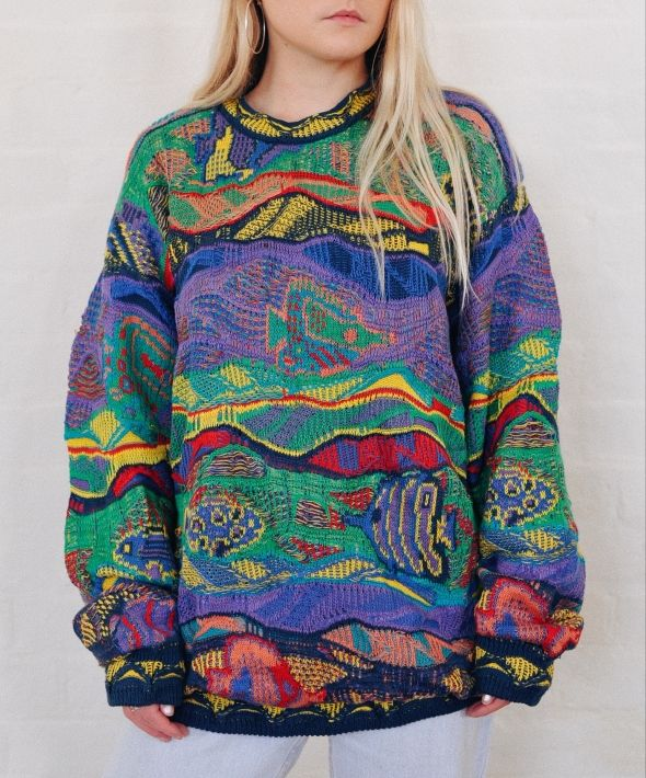 Vintage Coogi Abstract Pattern Knit Jumper