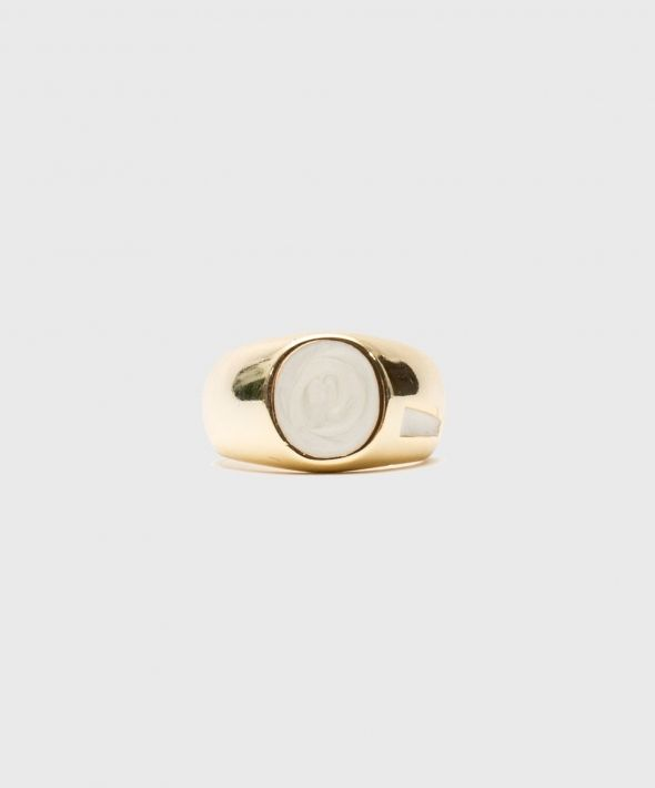 Gold Plated Silver Onyx Pinky Ring