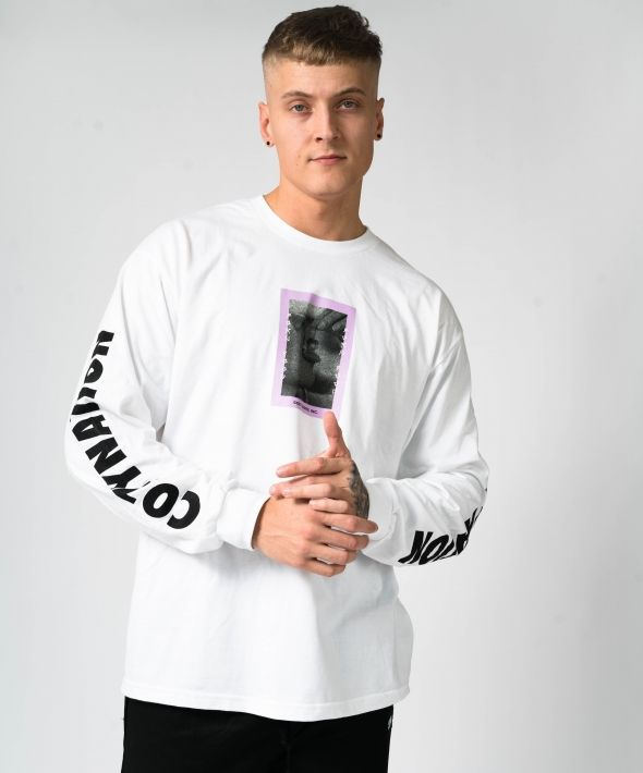 White Oversized Porn Food Longsleeve T-shirt