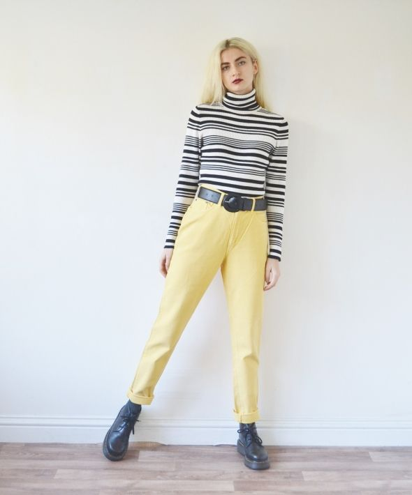 Vintage high waisted cord trousers yellow corduroy