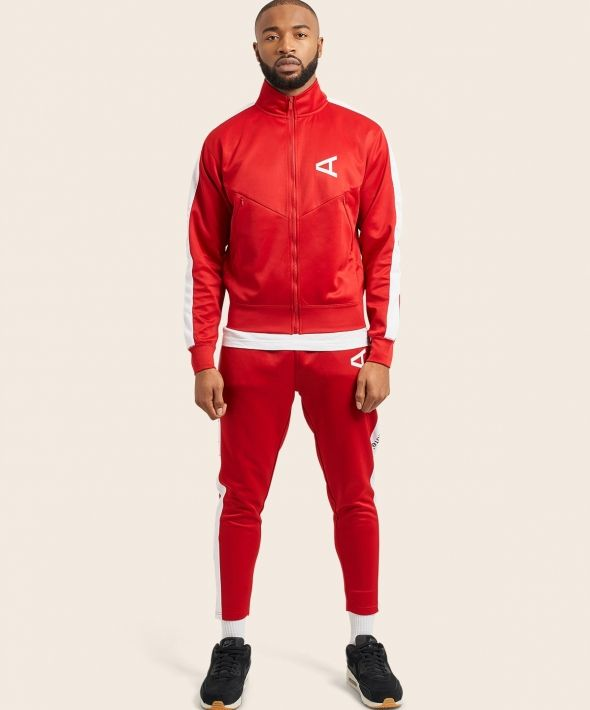 Arcminute Slim Fit Tracksuit Bottoms With Stripe Red
