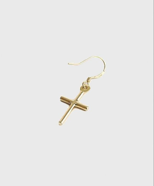 Solid Gold Cross Earring