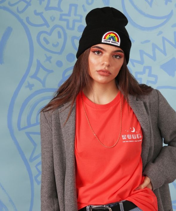 Black Knitted Beanie with DEAD HAPPY Rainbow Embroidered Patch