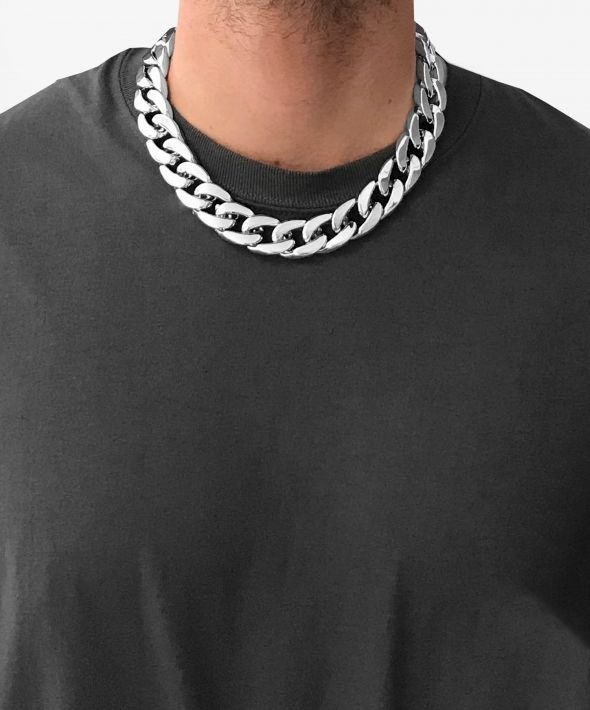 """54 Floral 22mm 20"""" Heavy Chunky Curb Necklace Chain - Silver [clone]"""