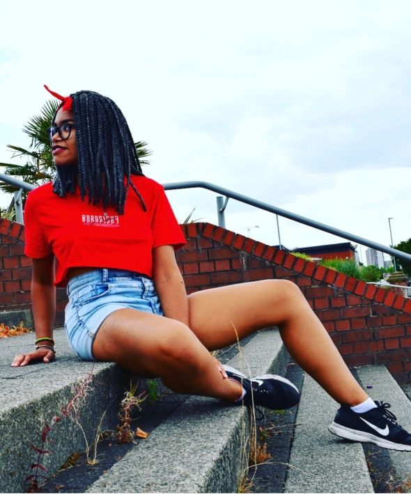 Born Risky Red Embroidered Inspire Crop Top