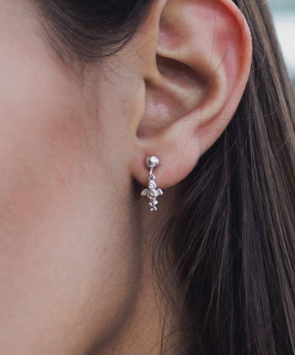 Silver Cherub Drop Earring