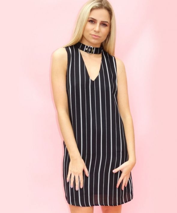 Black And White Pinstripe Choker T-shirt Dress