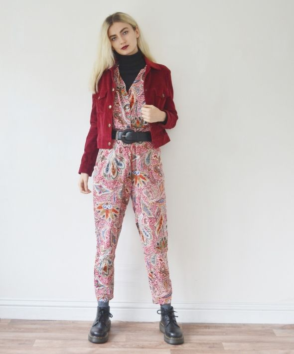 Vintage co ord two piece top high waist trousers jumpsuit