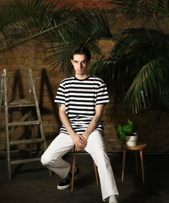 Paris In Cuffs Embroidered Striped Tshirt White - Mens