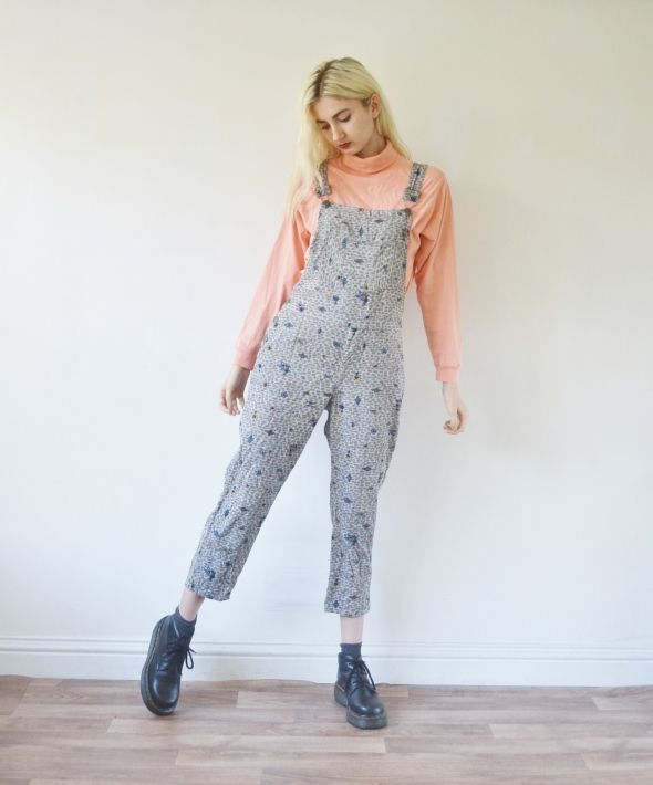 Vintage full length corduroy dungarees floral overalls