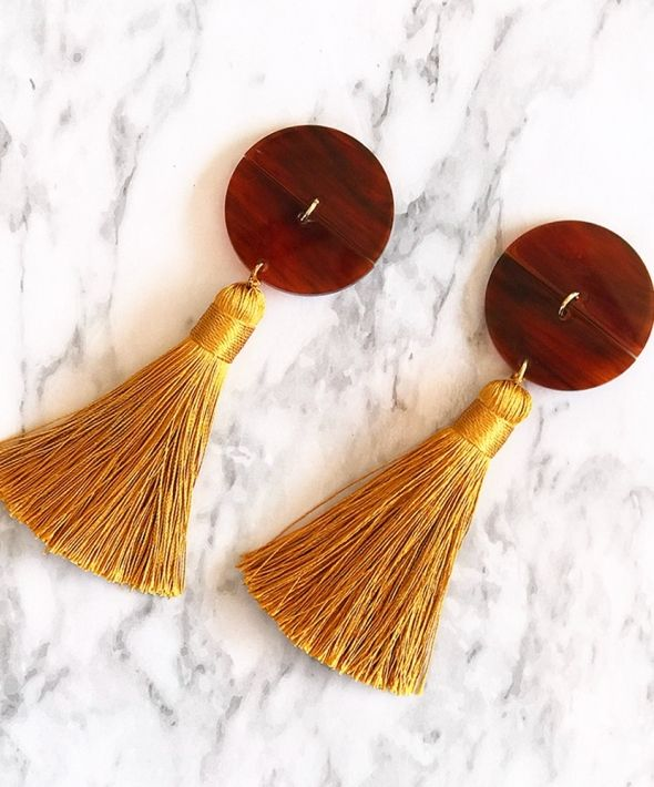 Mustard Tortoise Shell Giant Tassel Earrings