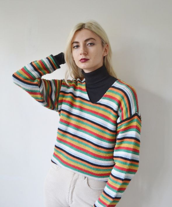 Vintage oversize jumper knit sweater rainbow colourful