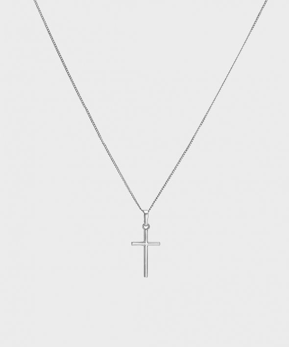 54 Floral Keena Cross Pendant Necklace Chain - Silver