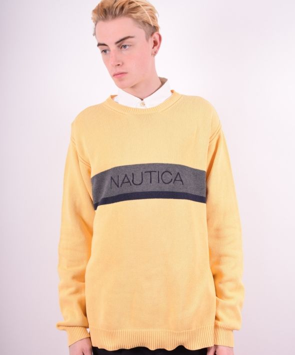 Nautica Mens Vintage Jumper Sweater XL Yellow 90's
