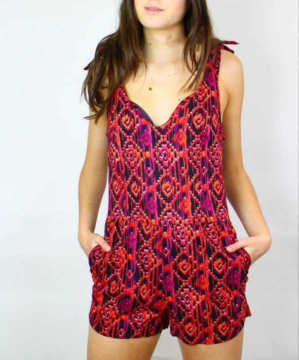 Vintage Aztec Playsuit with Buttons & Tie Shoulders 4108286