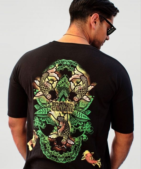 Oriental Fish Black T-shirt