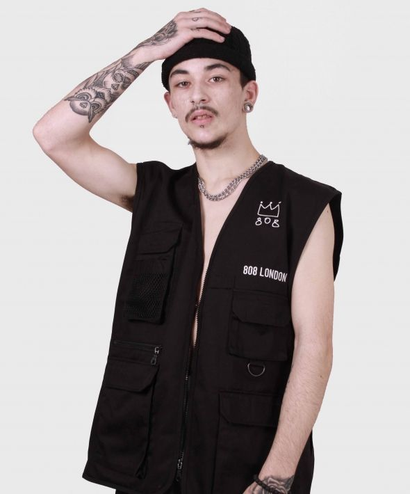 Black Gillet with embroidery and reflective back