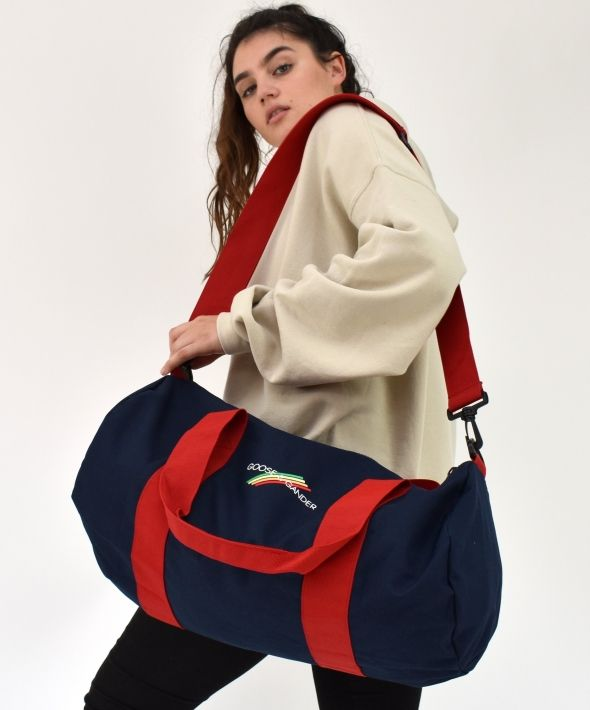 G&G Unisex Navy/Red Multi Lines Barrel Bag