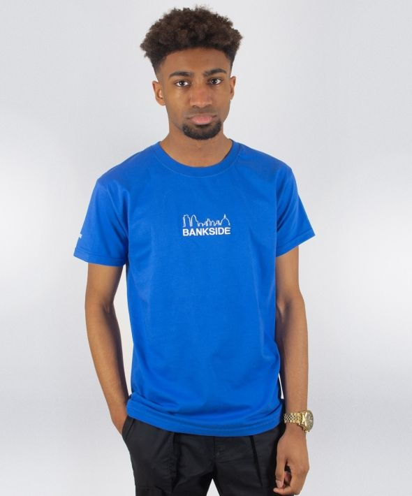 Blue Bankside Skyline Embroidered T-Shirt