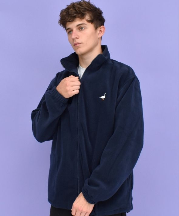 G&G Unisex Navy Full Zip Goose Fleece