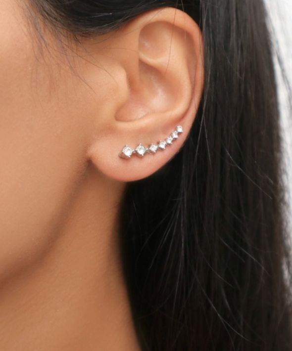 Rhinestone Climber Earrings