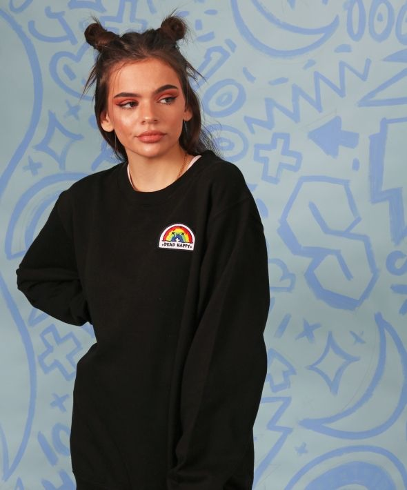 Sweatshirt in Black with Rainbow Embroidered Patch