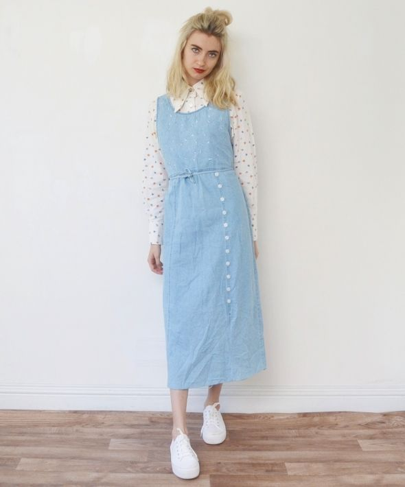 Vintage floral denim pinafore maxi dress long midi