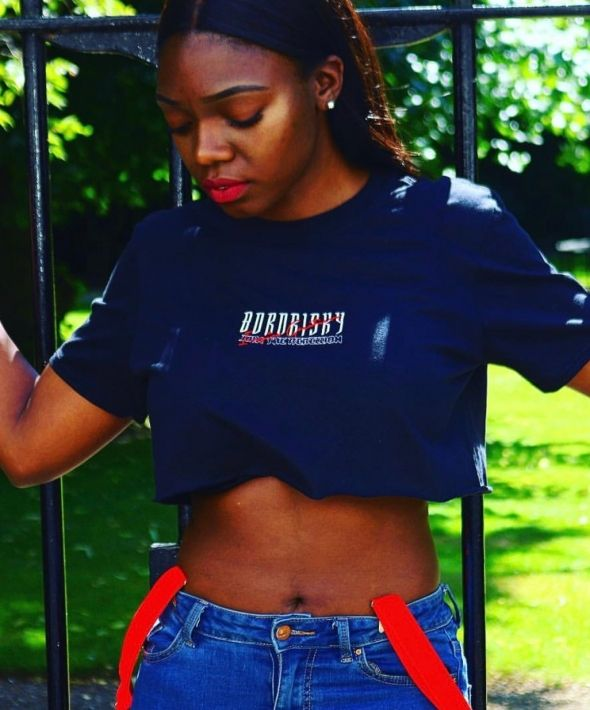 Born Risky Black Embroidered Inspire Crop Top