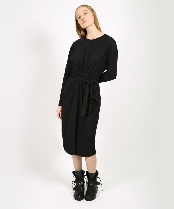 Black Long Sleeve Wrap Around Dress
