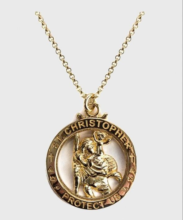 Gold Plated Silver St Christopher Necklace