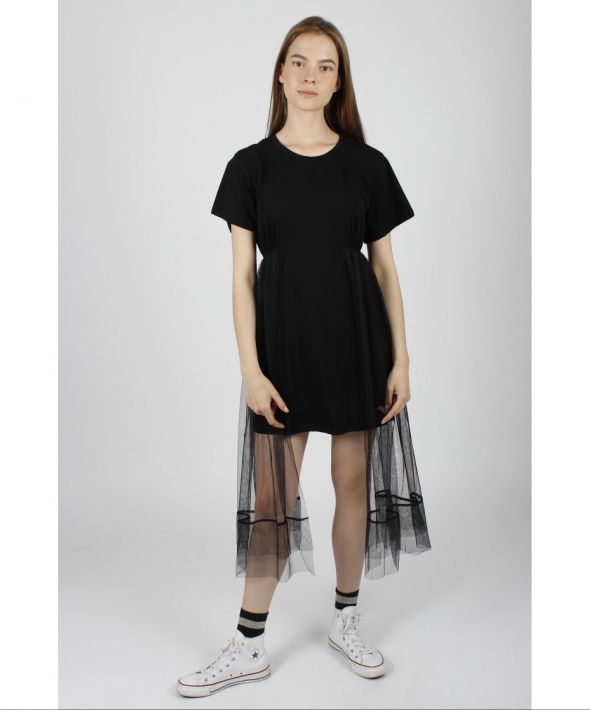 T-shirt Dress with Mesh Half Skirt