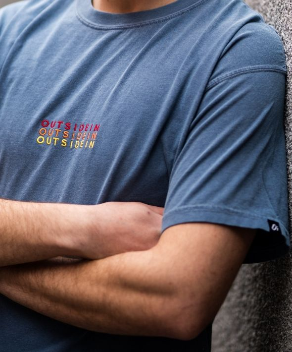 Blue 'OutsideIn' Embroidered T-shirt