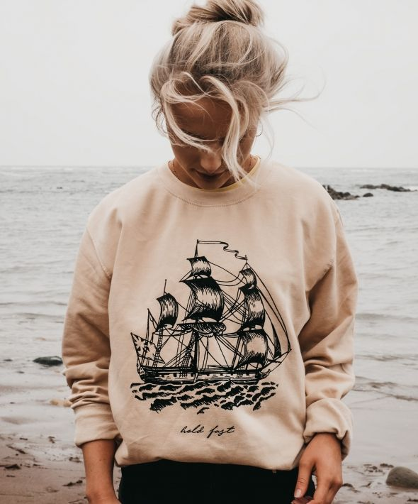 Hold Fast Ship Print Sand Sweatshirt