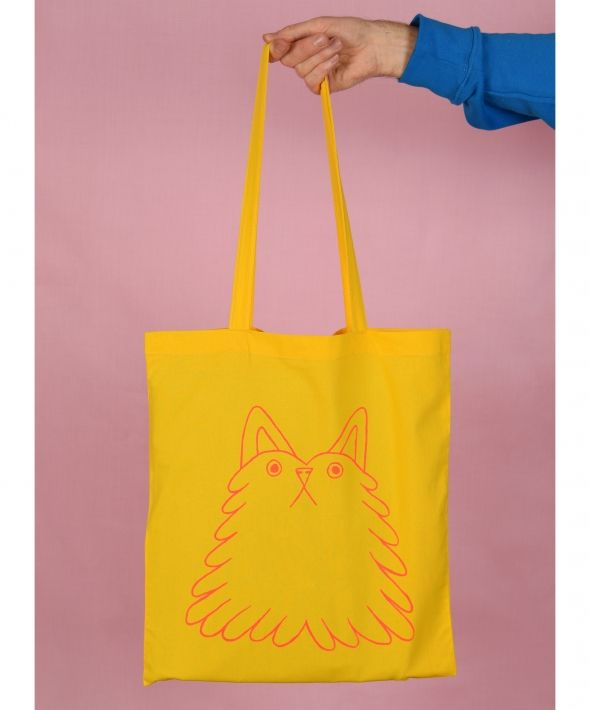 Fluff Buddy Cat Screen Printed Yellow Tote Bag