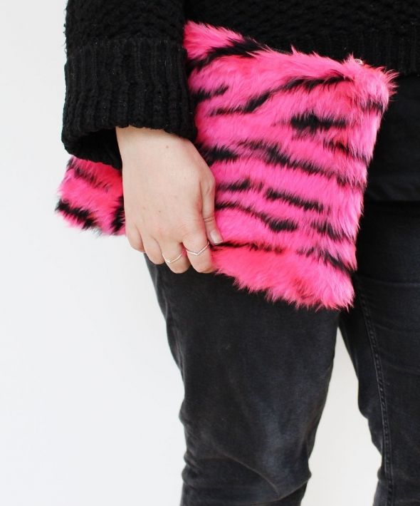 Pink Tiger Faux Fur Clutch