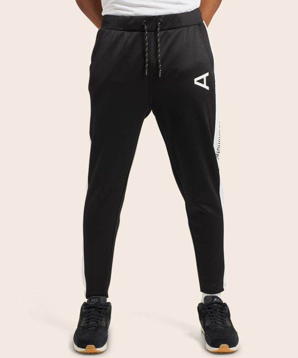 Arcminute Slim Fit Tracksuit Bottoms With Stripe Black