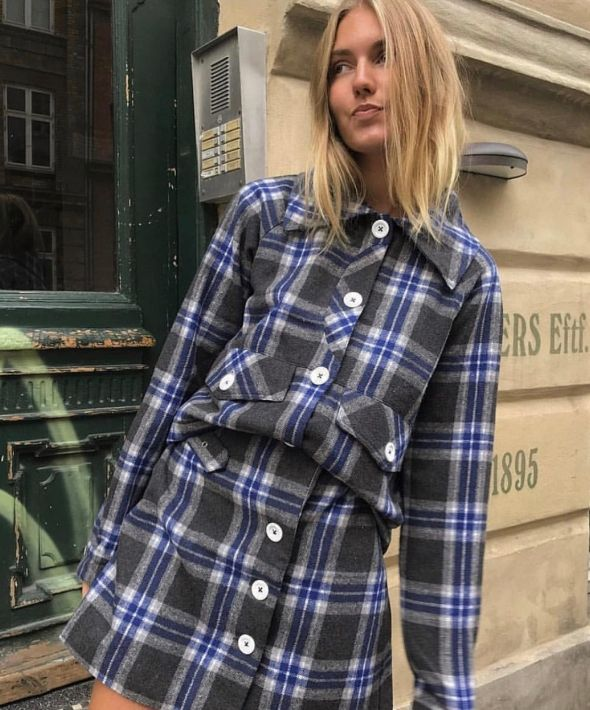 Aspin Kilt Worker Jacket in Grey and Blue Check
