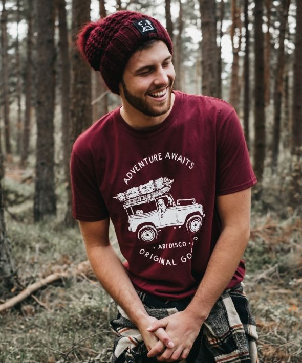 Wild Camping Burgundy Bobble Hat