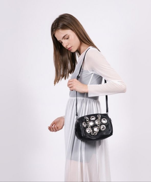 Black Leather Eyelet Bag