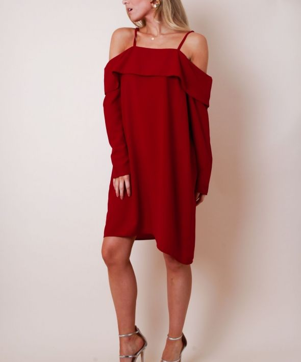 Cold Shoulder Long Sleeve Smock Dress - Red