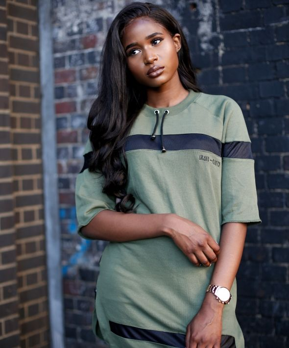 Oversize khaki Curve Hem Dress T-Shirt with Mesh