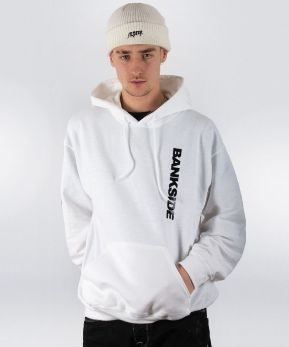 White 3D Logo Hoodie with Sleeve Detail